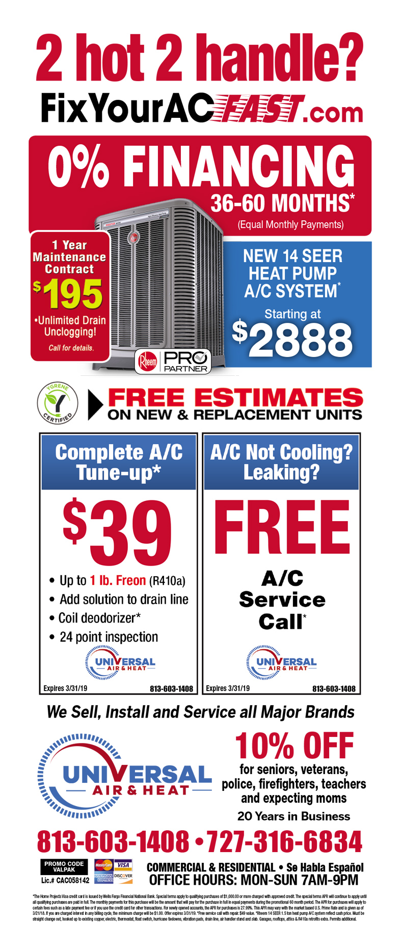 Advertised AC Repair Specials Tampa FL 727-683-0153 – FAST 24/7